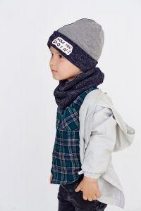 """Набір """"Мейсон"""" для хлопчика, синій (шапочка і хомут), 20.04.029"""