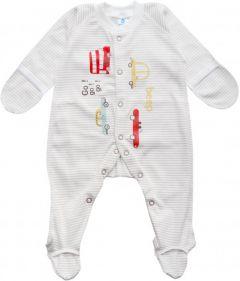 Трикотажний чоловічок для малюка (молочний смужка), MINIKIN 205603