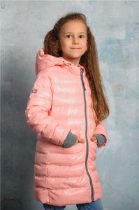 """Демисезонна подовжена курточка для дівчинки """"Мішель"""" (рожева), DC Kids"""