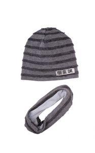 """Набір для дівчинки """"Мона"""" (шапка + хомут) сірий, 19.04.025"""