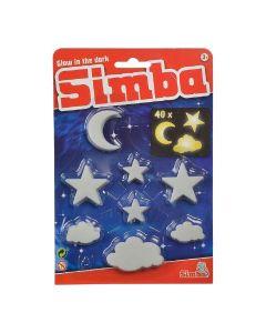 """Набір флуоресцентних елементів """"Зірки, хмари і місяці"""" (40 шт.), Simba 107822343"""