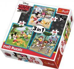 """Пазли """" Mickey Mouse з друзями"""" 3в1 Trefl 34846"""