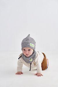 """Набір """"Ноа"""" для хлопчика, сірий (шапочка і хомут), 20.04.023"""