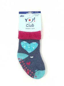 """Махрові шкарпетки для дівчинки з протиковзкими вставками """"сердечко"""" (сіро-синій меланж), YOclub SKF-ABS"""