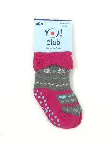 Махрові шкарпетки для дівчинки з протиковзкими вставками (рожеві з сірим), YOclub SKF-ABS