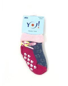 """Махрові шкарпетки для дівчинки з протиковзкими вставками """"Фея"""" (сіро-синій меланж з рожевим), YOclub SKF-ABS"""