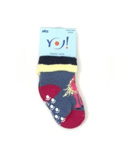 """Махрові шкарпетки для дівчинки з протиковзкими вставками """"Поні"""" (сіро-синій меланж), YOclub SKF-ABS"""