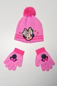 """Набір """"Minnie Mouse"""" для дівчинки, рожевий (шапочка і рукавички), D-40789"""