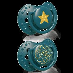 Силіконові динамічні пустушки Stardust  (0-3 міс) 2 шт. зелена, Lovi 22/892