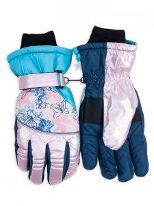 """Теплі рукавиці """"Квіти"""" (рожеві з голубим) YoClub RN-114"""