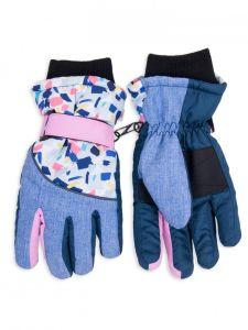 Теплі рукавиці, блакитні  з рожевим YoClub RN-109