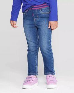 Джинси-скінні для дівчинки з трикотажним поясом