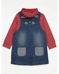 Комплект-двійка з джинсовим сарафаном для дівчинки