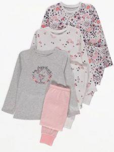 Піжама для дівчинки 1шт. (біла з принтом з квіточками)