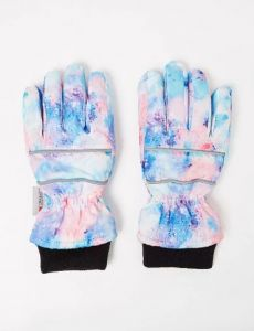 Теплі рукавиці з космічним принтом для дівчинки