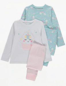 Трикотажная пижама для девочки 1шт. (голубая с принтом)