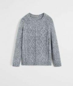 Меланжевий светр з в'язаним візерунком для хлопчика