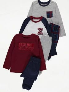 Трикотажна піжама для хлопчика 1шт. (сірий реглан і штани в клітинку)