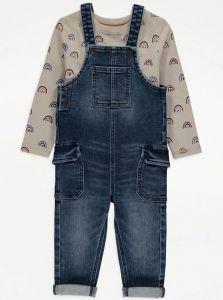 Комплект-двійка з джинсовим комбінезоном для дитини
