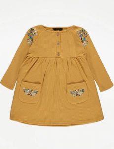 Плаття з цупкого трикотажу в рубчик для дівчинки