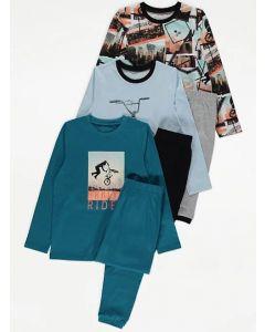 Трикотажна піжама для хлопчика 1шт. (блакитний реглан і чорні штани)