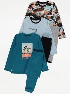 Трикотажна піжама для хлопчика 1шт. (реглан з принтом і сірі штани)