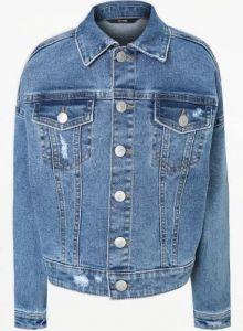 Укорочена джинсова куртка для дівчинки