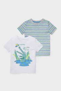 Трикотажна футболка для хлопчика з органічної бавовни 1шт. (біла з принтом)