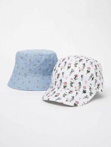 Стильна кепка для дитини 1 шт.(біла з квітковим принтом)