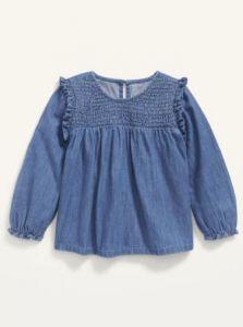 Блуза з тканини шамбре для дівчинки