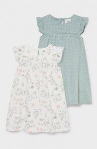 Плаття з органічної бавовни для дівчинки 1шт.(фісташкове у горохи)