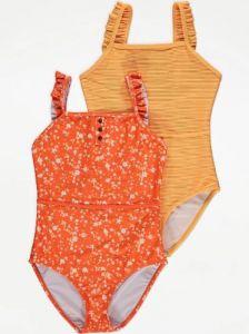 Купальник для дівчинки 1 шт. (помаранчевий з принтом)