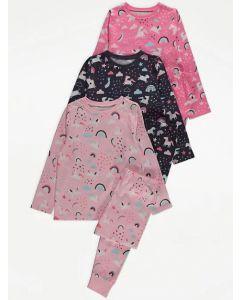Трикотажна піжама для дівчинки 1шт. (темна в принт)