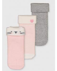 Набір шкарпеток (3 пари) з махровою ниткою всередині для дівчинки