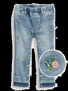 Джегінси з вишивкою для дівчинки
