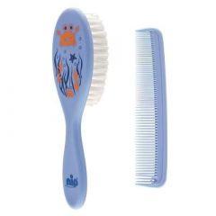 Набір щітка і гребінець для волосся (синій), Nip 37075