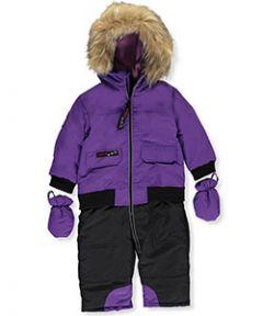 Зимний комбинезон для девочки (сплошной - имитация раздельной куртки и штанов)