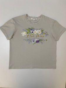 """Трикотажна футболка для дівчинки """"Квіти"""", Ф-319199 Mokkibym"""