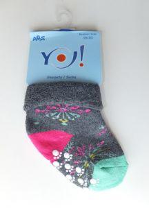 """Махрові шкарпетки для дівчинки з протиковзкими вставками """"сніжинки"""" (сірі), YOclub SKF-ABS"""