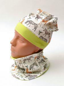 Трикотажный набор для ребенка (шапка и хомут), 9658