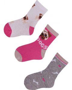 """Набір шкарпеток для дівчинки """"Собачка"""" (3 пари), YOclub SKC/3-PAK"""